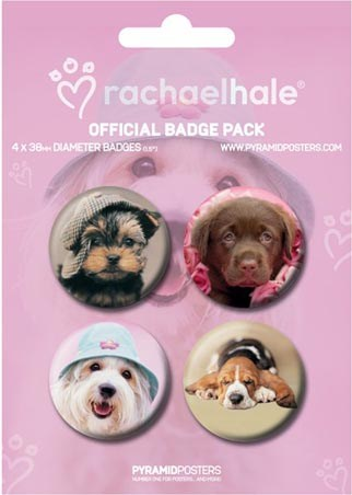 4 Dogs, Including Georgie and Cindy - Rachael Hale Button Badge Pack