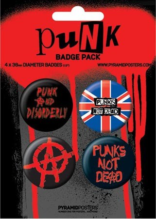 Punk Anarchy - Punks Not Dead - Punk Button Badge Pack