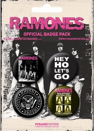 Tommy, Johnny, Joey, Deedee - Ramones Button Badge Pack