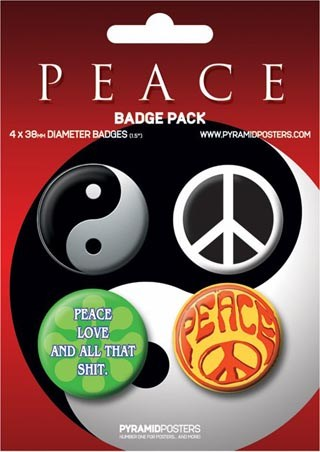 Ying and Yang, CND, Peace, Love and all that Shit - Peace Button Badge Pack