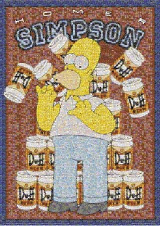 Homer Simpson, Duff Mosaic - The Simpsons