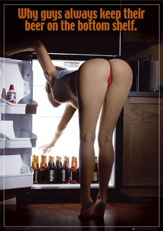 Why Guys Keep Their Beer on the Bottom Shelf - Woman Bending Over