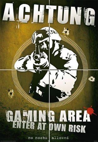 Achtung Gaming Area Enter At Own Risk Poster Buy Online