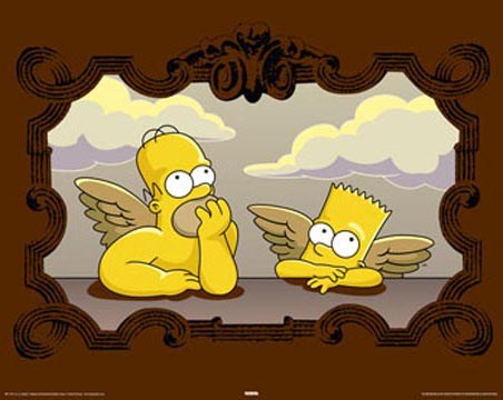 Bart and Homer in Raphael Cherub Spoof - The Simpsons