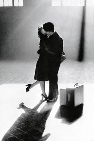 American Kiss - Couple Kissing on the Platform