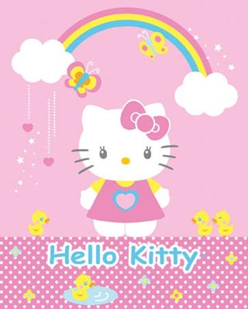 Under A Rainbow Hello Kitty Poster Card