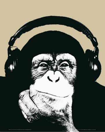 Monkey with Headphones Thinking - by Steez