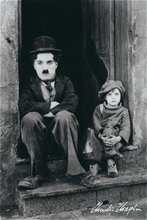 Charlie Chaplin In The Kid - Charlie Chaplin and Jackie Coogan Classic Scene