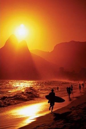 Ipanema Beach at Sunset - Rio De Janeiro, Brazil, South America