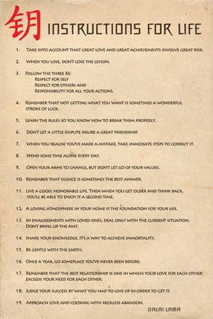 Rules to Follow for your Life - Instructions for Life