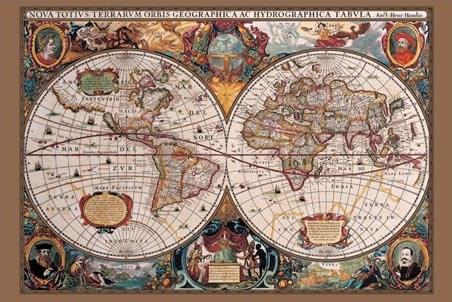 The 17th Century World - Antique World Map
