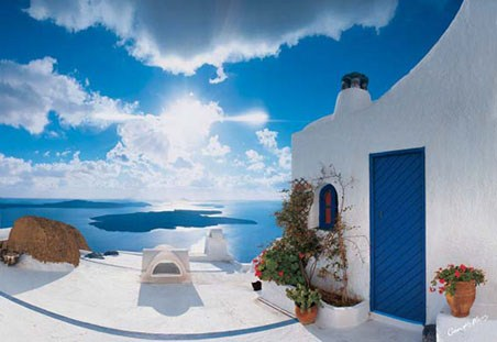Santorini Sunset - 8 Sheet Grecian Wall Mural
