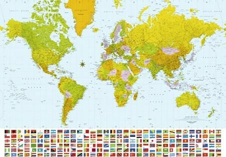 Map of the World - 8 Sheet World Map Wall Mural