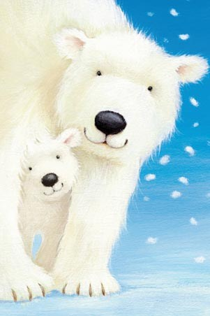 Mother and Baby - Fluffy White Polar Bears