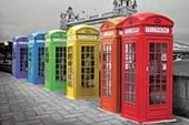 Rainbow Hued Phone Boxes Iconic London