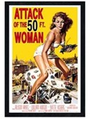 Black Wooden Framed Attack of the 50ft Woman Sci-Fi Movie Score
