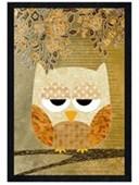 Black Wooden Framed Grumpy Owl Patchwork Art