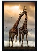 Black Wooden Framed Giraffe Sunrise African Wildlife Poster