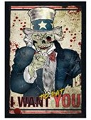 Black Wooden Framed I Want To Eat You Zombie Uncle Sam