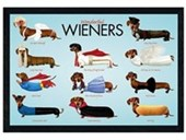 Black Wooden Framed Wonderful Wieners Sausage Dog Style