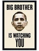 Black Wooden Framed Big Brother Is Watching You Obama