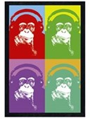 Black Wooden Framed Four Monkeys Steez Poster