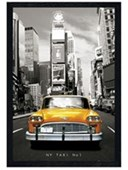 Black Wooden Framed New York Taxi Number 1 Yellow City Taxi