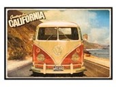 Gloss Black Framed Greetings From California VW Camper Van