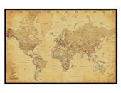Gloss Black Framed Vintage Style World Map Map