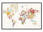 Gloss Black Framed A World of Patterns Alternative World Map