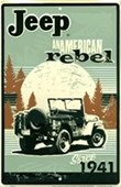 Jeep, An American Rebel Retro Car Sign