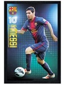 Black Wooden Framed Lionel Messi FC Barcelona's Hero