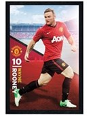 Black Wooden Framed Wayne Rooney Manchester United