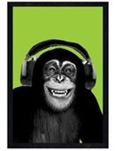 Black Wooden Framed Chimpanzee Boogie Chimp in Headphones