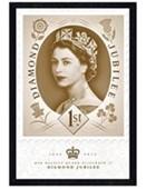 Black Wooden Framed Diamond Jubilee Celebratory Stamp The Royal Mail