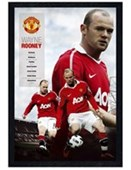 Black Wooden Framed Wayne Rooney Manchester United Football Club