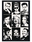 Black Wooden Framed Hollywood Legends Black and White Celebrity Portraits