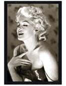 Black Wooden Framed Marilyn Monroe - Glow Classic & Beautiful B/W Photograph