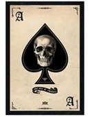 Black Wooden Framed Ace of Spades Gothic Playing Card
