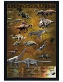 Black Wooden Framed Dinosaurs from the Triassic, Jurassic and Cretaceo Educational Dinosaurs Poster