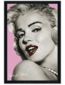 Black Wooden Framed Marilyn Looking over her shoulder Icon Marilyn Monroe with Red Lipstick