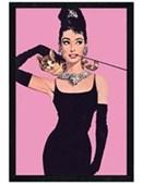 Black Wooden Framed Audrey Hepburn - Pink Audrey Hepburn