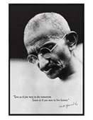 Gloss Black Framed Live as if you were to Die Tomorrow Mahatma Gandhi