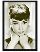 Black Wooden Framed Close-up Audrey Hepburn
