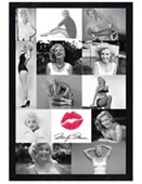 Black Wooden Framed Marilyn Monroe Collage Lipstick Kiss