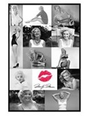Gloss Black Framed Marilyn Monroe Collage Black and White