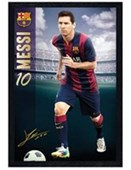 Black Wooden Framed Lionel Messi Barcelona Football Club