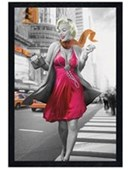 Black Wooden Framed New York Walk Marilyn Monroe