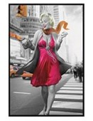 Gloss Black Framed New York Walk Marilyn Monroe
