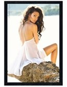 Black Wooden Framed White Dress Michelle Keegan